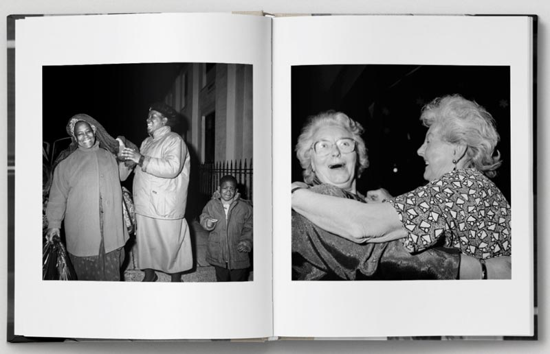 A spread from Roy Mehta's book Revival: London 1989-1993. In each photograph two people smile whilst holding one another.