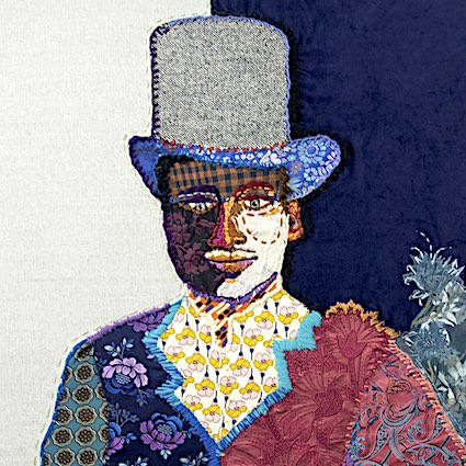 An colourful embroidery of a person wearing a large top hat and a smart patchwork jacket.