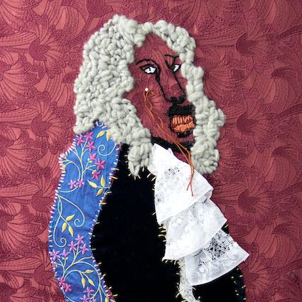 An embroidery of a person wearing a white judges wig and a black jacket with a large white ruffle down the front.
