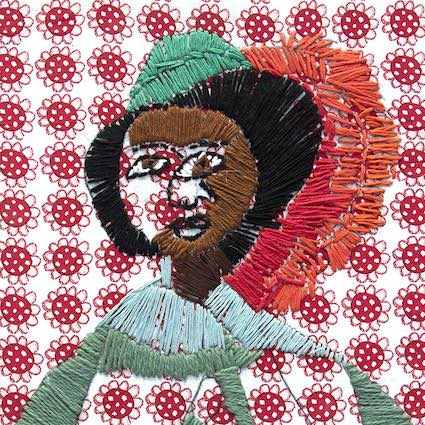 An embroidery of a person wearing a green hat with a large red feather.