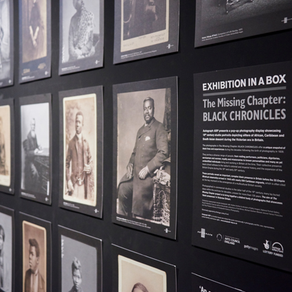 Autograph learning resources. Exhibition in a Box displaying historical archive photographs.